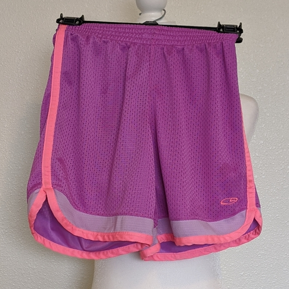 C9 Purple and Neon Pink Netted Shorts Girls Med